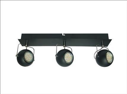 LAMPA SUFITOWA CANDELLUX WYPRZEDAŻ 93-25029-Z LISTWA TONY 3X3W LED GU10 CZARNY MATOWY