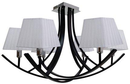 Lampa sufitowa czarna / biały abażur żyrandol 6x40W Valencia Candellux 36-30993