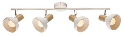 Lampa sufitowa ścienna listwa biała + drewno 4x40W Puerto Candellux 94-62789
