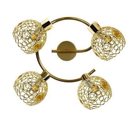 Lampa sufitowa spirala mosiądz + kryształki bursztynowe 4x40W Aron Candellux 98-00149