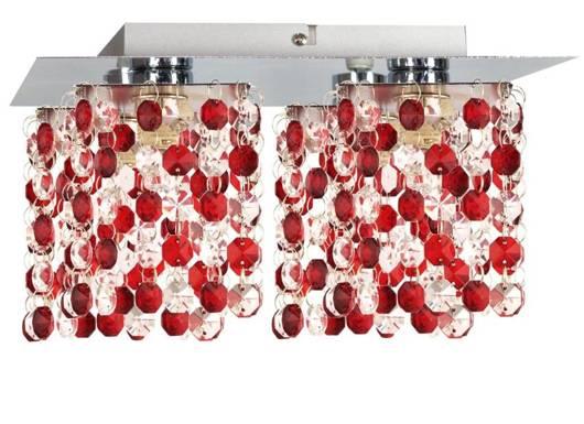 Lampa sufitowa chrom/czerwona kryształki 4xG9 Classic 98-63161