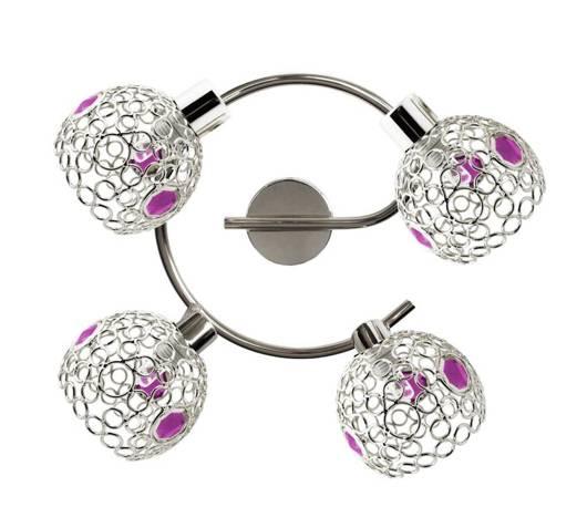 Lampa sufitowa spirala chromowa + kryształki fioletowe 4x40W Aron Candellux 98-12289